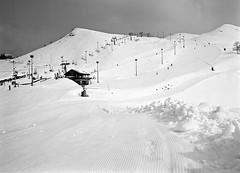 Prato Nevoso (Medium Format) (tjshot) Tags: mountain mountains nature outdoor black white altitude contrast ski resort holiday holidays travel winter cold season europe italy italia piemonte prato nevoso mono sepia interesting interestingness medium format 6x45 film analog silver developer development fuji ga645wi rollei ortho 25 spur acuroln