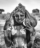 Mursi Girl (Rod Waddington) Tags: africa african afrique afrika äthiopien ethiopia ethiopian ethnic etiopia ethnicity ethiopie etiopian omo omovalley outdoor omoriver outdoors mursi tribe traditional tribal blackandwhite mono girl culture cultural child gourds chain portrait painted
