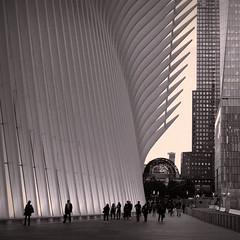 Oculus and Walkway To 911 Memorial Plaza (sjnnyny) Tags: urban twilight city nyc oneworldtradecenter lowermanhattan stevenj sjnnyny pentaxk3ii kmount oculus 1wtc people squarecrop sigma28mmf18exdg brookfieldplace offices commuters