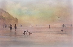 October in Southern California (Christina's World-) Tags: beach california ocean painterly people art sky water landscape seascape creative scenic moonlightbeach encinitas sandiego unitedstates colors seasons autumn october impressionism exoticimage