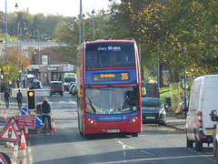 35 bus from the 35 bus on Gooch Street, Highgate (ell brown) Tags: goochst highgate birmingham westmidlands england unitedkingdom greatbritain bus 35 nxwm nationalexpresswestmidlands buses tree trees leaves autumn bigjohns trafficlight roadworks ambulance cyclist florence busstop birminghamuk