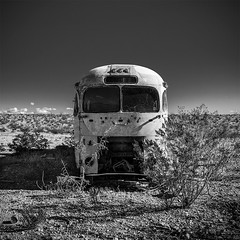 Old tour bus in Big Bend Ranch State Park, Texas