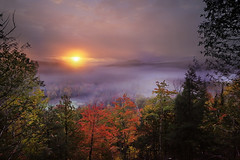 Sunrise at Mont-Tremblant (lfeng1014) Tags: sunriseatmonttremblant sunrise monttremblant quebec canada 重陽節 登高望遠 層林盡染 autumncolours misty autumn mistymorning mountain forest autumnleaves landscape canon5dmarkiii ef1635mmf28liiusm travel light