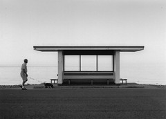 Shelter by the sea (Pentax ES with SMC Takumar 1.1:8 55mm) (joshdgeorge7) Tags: wales blackandwhite ilford film vintage sea pentax asahi