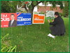 A constituent asked Bob to add his sign to a lawn collection (Kitchener Conestoga Greens) Tags: 2015 elxn42 kitchener—conestoga gpc greenpartyofcanada bobjonkman federalelection canada ontario waterlooregion woolwichtownship wellesleytownship wilmottownship kitchener elmira