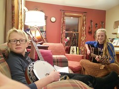 Practicing together... (Kellen Family) Tags: kellen family singing music band together excited happy smiles memories indoor banjo fiddle guitar mandolin purple grey home siblings brother sister