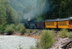 The line mainly follows the Animas River R1004574 Durango & Silverton RR (Recliner) Tags: baldwin dsng drg