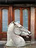 Chiropractor (Chris Protopapas) Tags: iphone nyc chiropractor horse head equus sculpture eastvillage newyorkcity sidewalk knight storefront
