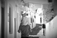 Day 265 : Is for ... The Ones You Don't Mind Carry On Your Shoulders (Storyteller.....) Tags: 365 deep365 nikon nikon365 blackandwhite blackwhite street alley island greece people man child chlidren father dad daddy girl little blonde daughtrer carry shoulders