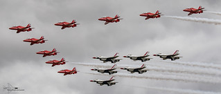 The Red Arrows lead the way for the USAF Thunderbirds