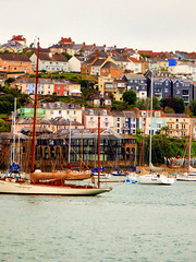View from the St. Mawes Ferry, Falmouth, Cornwall (photphobia) Tags: stmawes stmawesferry falmouthharbour falmouth harbour cornwall town uk oldtown oldwivestale outdoor outside sky perspective reflection waterfront tug barge ship boat boats water haven