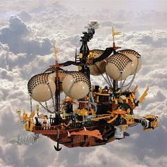Merchant of Aetheria (Zilmrud) Tags: lego moc afol swebrick steampunk steam punk airship legoart legos pearl gold aetheria cb