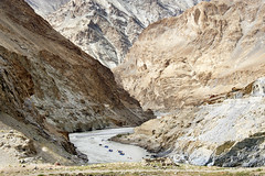 Small (nokkie1) Tags: india ladakh himalaya canoe raft river mountain scale color curves