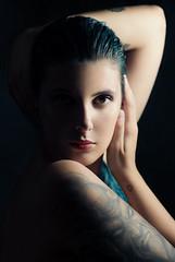 Contradictions (Giulia Valente) Tags: portrait portraits portraiture darkportrait inked blue hair beauty beautiful ritratto dark light shadow lowkey confident darkside brightside tattoo