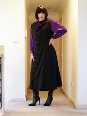 New Boot Debut (3) (Furre Ausse) Tags: black long office career business dress purple silk bow blouse leather boots
