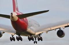 QF0001 SYD-DXB-LHR (A380spotter) Tags: wake shockwave condensation moisture water vapour arrival landing finals shortfinals threshold belly airbus a380 800 msn0015 vhoqb hudsonfysh qantasairways spiritofaustralia qfa qf qf0001 syddxblhr runway27r 27r london heathrow egll lhr