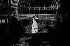 Océane. (Nicolas Fourny photographie) Tags: canon 600d sigma 18200 model beauty beautifulwoman beautifulgirl romanticism blackandwhite noiretblanc bw beautifuldecay decaying whitedress shadows lightandshadows abandonedgreenhouse naturallight spring