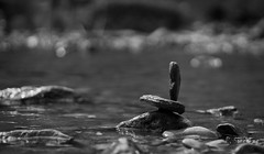 balanced .. (pacosanchez8) Tags: balanced blackandwhite beautiful black bw bokeh blur amazing art canon landart love nature outdoors naturelover water river rock creativity creation creative grey contrast exposure white noiretblanc photography