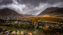 Gate to heaven.... (Einir Wyn Leigh) Tags: landscape mountain valley path gate storm autumn wall scenery walking clouds moody isolate range cymru wales uk britain outside sigma nikon wideangle gold blue green