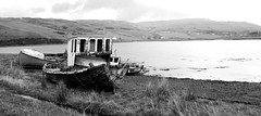 Boat graveyard Isle of Skye Scotland (Dave Russell (1 million views thanks)) Tags: boat ship vessel shore shoreline coast coastal vehicle transport fish fishing wreck wrecks abandoned rotten rotting isle skye inner hebrides west western scotland loch harport satran water sea marine maritime mono monochrome blackandwhite black white bw outdoor travel tourism island landscape lake