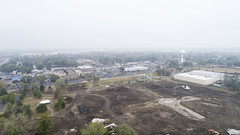 Centennial Park Oak Lawn - Facelift - 10-6-2017 (Rick Drew - 20 million views!) Tags: oaklawn il illinois centennial park facelift construction cook county trees forest grove playground grass field ballpark fence heavy equipment dji drone phantom4pro p4p fog mist rain