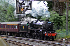 45407 Stanier 5MT, Edinburgh 6/8/17 (David K- IOM Pics) Tags: edinburgh scotland 45407 british rail br stanier lms 5mt black 5 early crest black5 west coast railways steam locomotive train princess street gardens