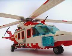 Air Ambulance - AW139 Version 2 (Lonnie.96) Tags: australia australian 2017 emergency plane stretcher helicopter rotor beechcraft king air agusta westland 139 200 200c red blue white wheels victoria ambulance rescue callout transport new custom moc remake