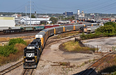 """Westbound Transfer in North Kansas City, MO (""""Righteous"""" Grant G.) Tags: ns norfolk southern railway railroad locomotive train trains west westbound emd power transfer freight kansas city missouri north"""
