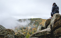 Looking over Shenandoah (ep_jhu) Tags: autumn x100f nature fall fujifilm rocks trees shenandoah virginia park forest woman fuji naturaleza otoño hoodie va rocas frombehind luray unitedstates us