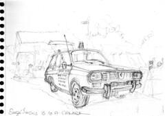 Sauzé Vaussé, bourse auto : Renault 12 service (Croctoo) Tags: croctoo croctoofr croquis crayon auto autoancienne renault