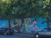 The sea around us (Ruth and Dave) Tags: mermaid octopus creature mountpleasant vancouver art mural street trees car sidewalk wall building vancouvermuralfestival vanmuralfest ladymermaids laniimre bronwynschuster amandasmart tiarambaran
