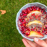 Pomegranate and apple with chia and flax seed in a protein/acai mix thumbnail