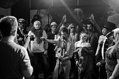 At the Video Shoot #2 (The_Kevster) Tags: band filming video shoot camerman group people london monochrome bw blackandwhite southlondon hernehill esethevooduupeople eseokorodudu director nikon dslr d3300 crowd light shadows quadrafon costumes dancers masks