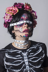 Day 3928 (evaxebra) Tags: 365days 365 evaxebra wh wah measuring tape skull calavera dia muertos flowers blackmilk death day dead facepaint