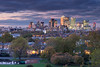 Canary Wharf from Greenwich Park (Jake Pike) Tags: greenwich park sunset dusk canary wharf buildings sky skyline skyscrapers clouds mood light autumn trees fall jake pike photography cityscape view point london east