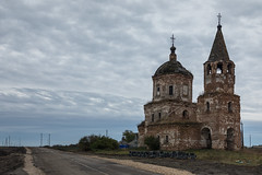 Abandoned Church (Oleg.A) Tags: lunacharskoye penzenskayaoblast russia ru ancient autumn penzaregion church cloudy brick outdoor ruined evening villiage clouds old destroyed inside abandoned interior building bell dome twilight materials architecture cross antique shadow orthodox orange