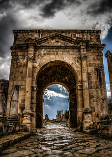 Hadrian's Gate after a storm. Jerash, Jordan.