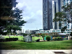 The Croquet Club. The tall ugly buildings.