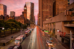 October Sunsets (Paul Flynn (Toronto)) Tags: toronto queen street west road old city hall hotel bus light trail long exposure nd filter nikon d800 people downtown court