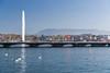 WIPO, Swiss and Geneva Flags at Pont du Mont-Blanc (WIPO | OMPI) Tags: wipo ompi flag flags pontdumontblanc genève geneva jetdeau