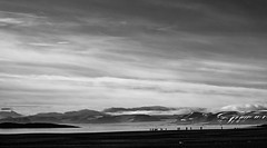 """Arctic ants"" (OzzRod) Tags: pentax k3 smcpentaxda55300mmf458 arctic hikers tundra sea mountains clouds monochrome blackandwhite scale diminutive ardneset svalbard pentaxart"