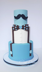 Mustache and bowtie (Cake Diane) Tags: mustache bowtie suspenders little man boy blue polka dot tiered fondant birthday cake