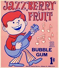 Jazz Berry Fruit (grooveisintheart) Tags: gum gumball vending machine cards vendingmachinecards gumballmachinecards vintage ephemera 1960s 1970s groovy mod typography graphicdesign illustration vintagefood vintagecandy vintagegum vintageadvertising