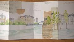 Le long de la Seine (2). (couleur.indigo) Tags: aquarelle croquis carnet accordéon paris paysagesurbains feutre