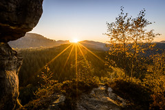 Fall Sunset (derliebewolf) Tags: fallcolours fall autumn colorfultrees coloredleafs nature landscapes flare sunstar saxonswitzerland sächsischeschweiz hinking backpacking adventure herbst backcountry solitude bluesky goldenhour forest