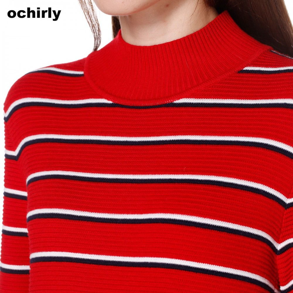 Ochirly ochirly new dress small wool turtleneck split long sleeved dress 1YY3035400