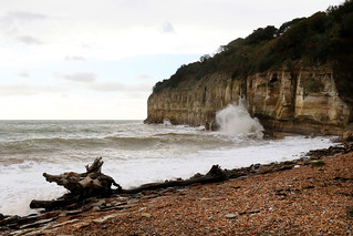 Pett Level cliffs high tide 10