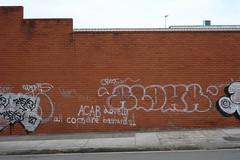 Red Brick Wall with graffiti, Marrickville 2016. (Kent Johnson) Tags: 1600dscf9739 marrickville redbrick graffiti urbex fujifilmxpro1 xf35mmf14r politics art wall