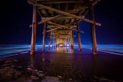 Under Oceanana Pier at Night (ashercurri) Tags: oceanana pier ocean atlantic nc north carolina landscape seascape sony nex 7 nex7 night star stars dark obx outer banks