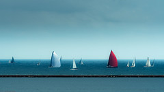 Breakwater, Sails, Sky (theReedHead) Tags: thereedhead milwaukeephotographers wisconsinphotographers olympusep5 olympus40150mmf28 olympuscameras olympuszoomlens seascapes sailboats milwaukee wisconsin milwaukeelakefront regatta sailingregatta milwaukeebreakwater
